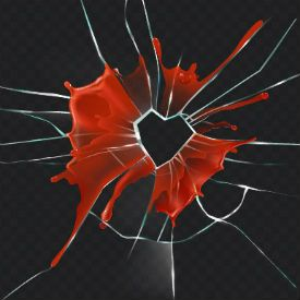 Broken glass in shape of heart